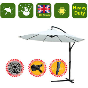 3 Meter Cantilever Parasol Garden Patio Banana Umbrella Cream Sun Canopy KU30C