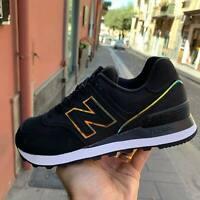 Scarpe Sneakers New Balance 574 Black specchiate donna inverno 2020