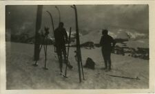 PHOTO ANCIENNE - VINTAGE SNAPSHOT - SPORT SKI SILHOUETTE - SKIING 1930