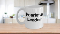 Fearless Leader Mug White Coffee Cup Funny Gift CEO Boss Pastor Youth Minister