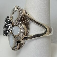 HSN Sima K Mother-of-Pearl Sapphire Flower Ring SZ 8