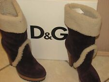 Dolce & Gabbana Suede and shearling ankle boots Size 38 / New in Box / Snow