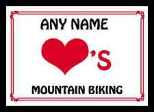 Love Heart Mountain Biking Personalised Mousemat
