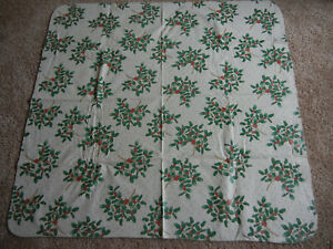 """52"""" X 50"""" HOLIDAY HOLLY FLANNEL BACKED VINYL TABLECLOTH"""