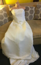 Amanda Wyatt Strapless White Wedding Dress With Floral And Beading Trim Size 14
