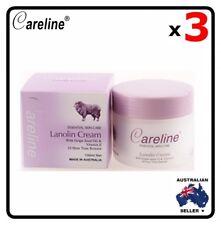 3 x Careline Lanolin Cream With Grape Seed Oil & Vitamin E 100ml Australia Made