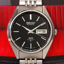 STUNNING VINTAGE SEIKO KS MEN'S AUTOMATIC SS BLACK DIAL DAY/DATE WATCH
