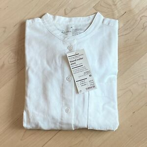 MUJI Ladies Cotton Flannel Stand Collar Shirt Size M Off White