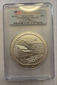 2014-P PCGS SP70 Great Smokey Mountain 5oz ATB Coin - First Strike!