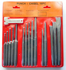 16PCS PIN PUNCH & CENTER PUNCH CHISEL TOOL SET WITH GAUGE MECHANICS PUNCH SET