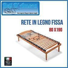 RETE A DOGHE IN LEGNO 80X190 SINGOLA IN FAGGIO NATURALE ORTOPEDICA AMMORTIZZATA