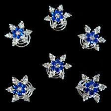 6 épingles spirales twister cheveux mariage mariée fleur cristal bleu roi blanc