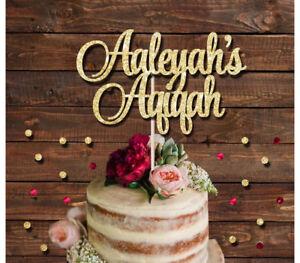 AQIQAH CUSTOM NAME GLITTER CAKE TOPPER ISLAMIC BABY SHOWER NEW BABY BABY ARRIVAL