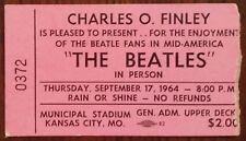The Beatles-1964 RARE Concert Ticket Stub (Kansas City-Pink Upper Deck)