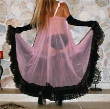 XL TALL PINK & BLACK SWEEPING VINTAGE SLIP CHIFFON NEGLIGEE LINGERIE NIGHT GOWN