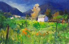 Tim Diebler Untitled Field Hand Signed Original Oil Painting on Board, OBO