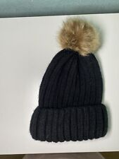 Negro Gorro con Pom-Pom-Negro de Lana-Nunca Usados, Nuevos Sombrero