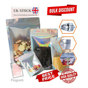 One Side Clear Hologram Stand Up Pouches Mylar Food Grade Zip Lock Heat Sealable