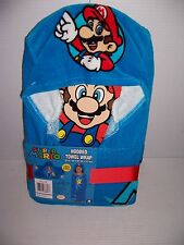 "SUPER MARIO 100% COTTON HOODED TOWEL WRAP  24"" X 50"" NEW!"