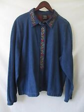 ALLISON DALEY 18 XL BLOUSE JACKET TOP SHIRT BLUE JEANS DENIM EMBROIDERY ZIPPER
