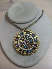 Estate Costume Ethnic India Handmade Sun Pendant with Colorful Flowers Necklace