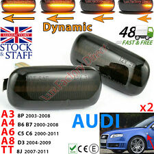 Black Tint LED Sequential Audi Style Side Indicator Turn Signal Smoke LUXFACTORY