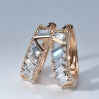 18k yellow gold made with SWAROVSKI crystal baguette round huggie V earrings
