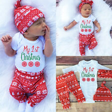 Xmas Newborn Baby Boys Girls Tops Romper Bodysuit Pants Hat 3PCS Outfits Clothes