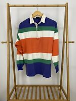 VTG J. Crew Men's Striped Bold Colorblock Rugby Long Sleeve Polo Shirt Size M