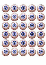 30 HALLOWEEN EDIBLE RICE PAPER WAFER CARD SCARY EYEBALL MONSTER CUPCAKE TOPPERS