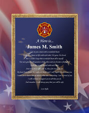 Firefighter Gift Personalized 11x14 Unframed Picture Mat Fireman Fire Fighter