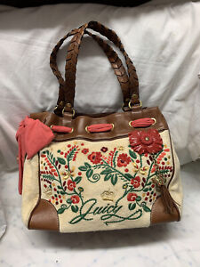 Juicy Couture Shoulder Bag Pink Brown Logo Women's Everyday Large