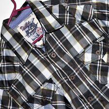 DECIBEL MEN'S PLAID / CHECK SHIRT - Western Brown Black - VGC  Size 2X Slim Fit
