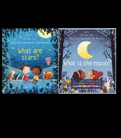 Usbourne Lift The Flap What Are Stars And What Is The Moon 2 Book Set Pack NEW
