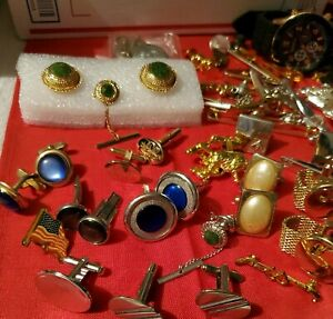 Mens Cufflinks lot Goldtone & SilverTone & Accessories 1+ lbs. Nice  condition