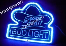 George Strait Bud Light 3D Carved Beer Bar Real Neon Light Sign FAST FREE SHIP
