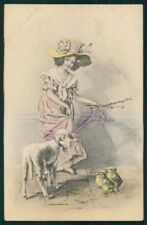 Viennoise Easter Lamb Lady postcard TC3923