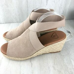 Madeline Womens Sz 8.5 Sunny Day Faux Leather Espadrille Wedge Sandals Shoes Tan
