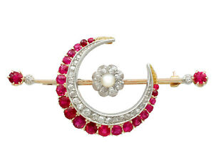 Antique 2.85 Ct Ruby 0.65 Ct Diamond Pearl 9k Yellow Gold Crescent Brooch