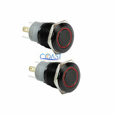 2X Durable 12V 16mm Car Push Button Red Angel Eye LED Momentary Light Switch