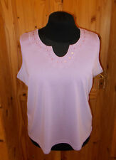 BM CASUAL lilac mauve embroidered sequin camisole vest tunic top BNWT XL