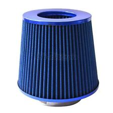 "4"" Inch Chrome Inlet High Flow Short Ram/Cold Intake Round Cone Air Filter Blue"