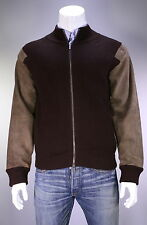 * Z ZEGNA * Brown Knit Ribbed Wool-Suede Leather Bomber Jacket~ Medium
