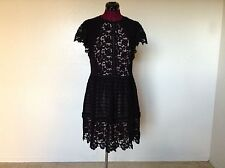 NWT Rebecca Taylor $695 SS Mixed Lace Dress*Black*Sz 10*CURRENT STYLE