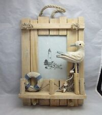 Hand crafted wood photo frame. Seagull, beach nautical theme