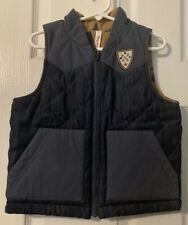 NWOT Hanna Andersson Reversible Jacket Vest Navy Green Trees Quilted Fall 100 4T