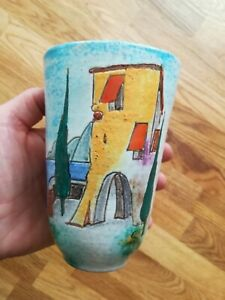 Keramik VASE HUBER ROETHE Keramische Werkstatt Achdorf Landshut 1950 er Garda