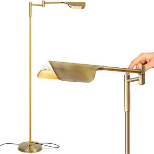 Brightech Leaf 53 Inch Tall Vintage LED Floor Lamp with Adjustable Arm, Gold