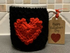 Hand Knitted Black Mug Cosy With Red Crochet Heart. Valentines Gift?