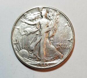 1945 Walking Liberty Silver Half Dollar ~Philadelphia Mint    #B81